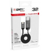 EMTEC T750 3.1 iPHONE 32GB Chiavetta, cavo di ricarica e archiviazione da chiavetta ad iPhone e viceversa
