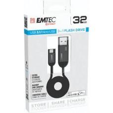 EMTEC T750 3.1 MICRO USB 32GB Chiavetta, cavo di ricarica e archiviazione da chiavetta ad MICRO USB e viceversa