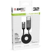 EMTEC T750 3.1 TYPE-C 32GB Chiavetta, cavo di ricarica e archiviazione da chiavetta TYPE-C e viceversa